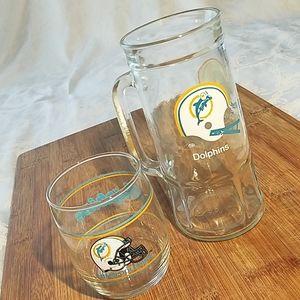 2 Vintage Miami Dolphins Glasses/ Mug and Glass